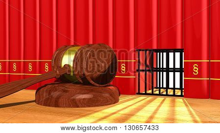 3D illustration justice concept with a gavel on a table and a prison cell in a row of red books with a paragraph sign