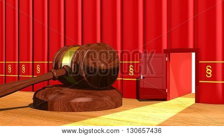 3D illustration escape the law concept with a gavel on a table and a backdoor in a row of red books with a paragraph sign