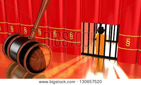3D illustration justice concept with a gavel on a table and a prison cell in a row of red books with a paragraph sign and a hacker captured behind bars