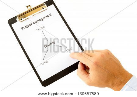 Project management triangle on a white paper in a black clipboard with a hand tapping under costs