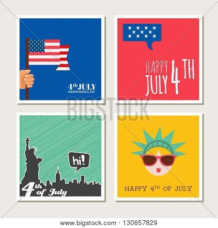 Happy independence day  of United States of America card set. 4 th of July.