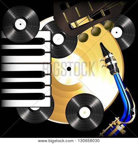 Vector illustration of a background music vinyl records saxophone guitar fretboard and piano keys on black. Can be used with or teksttom lyubam image on a black background.
