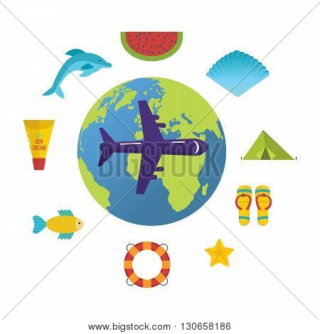 Travel around the world. Summer holiday flat icons set. Lets travel. Illustration with travel, tourism and summer relaxation