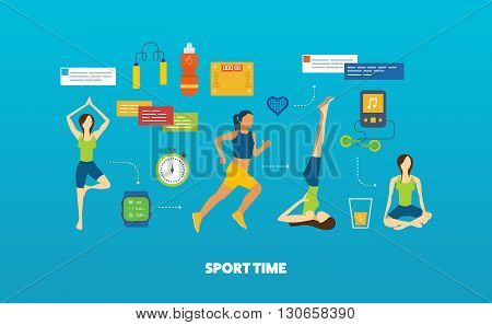 Modern flat vector icons of healthy lifestyle, fitness and physical activity. Yoga classes. Yoga exercises. Running woman. Healthy lifestyle and fitness concept.