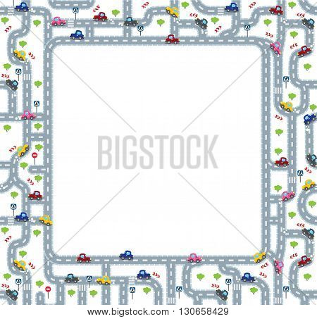 Funny frame or border of roads, grass areas and cars. Children vector illustration or background.