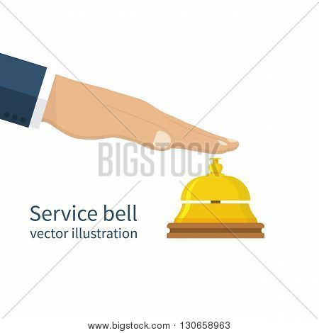 Male Hand Pressing Service Bell.