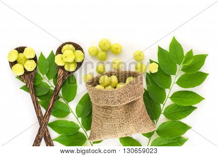 Top View Of Fresh Star Gooseberry Fruit On White Background