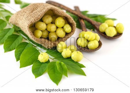 Group Of Fresh Star Gooseberry  And Leaves