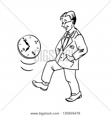vector linear illustration procrastination businessman which delay his work for later