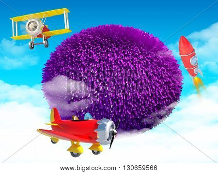kids background at violet oval with cartoon airplanes and rocket. 3d illustration