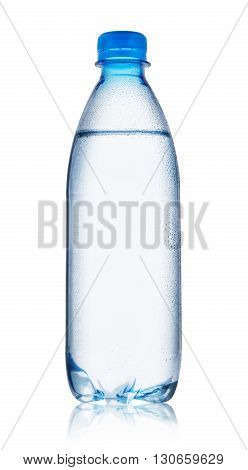 Blue bottle of water with drops isolated on white background