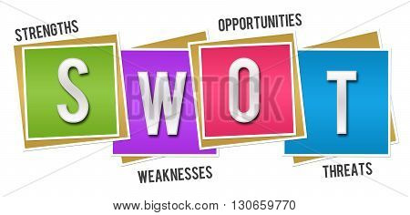 SWOT - Strengths Weaknesses Opportunities Threats concept image with text over colorful background.