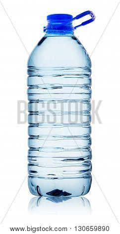 Bottle of water with handle isolated on white background