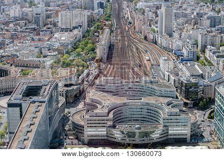Paris Montparnasse Rail Station View Aerial Landscape