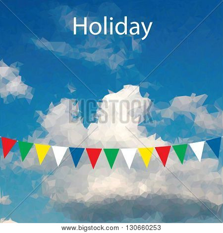 vector illustration with celebration flags on rope on cloudy low poly sky and sample text