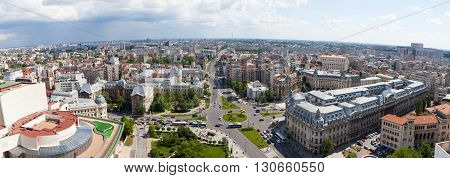 Aerial Panoramic view of central Bucharest, Romania