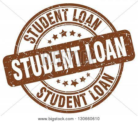 student loan brown grunge round vintage rubber stamp