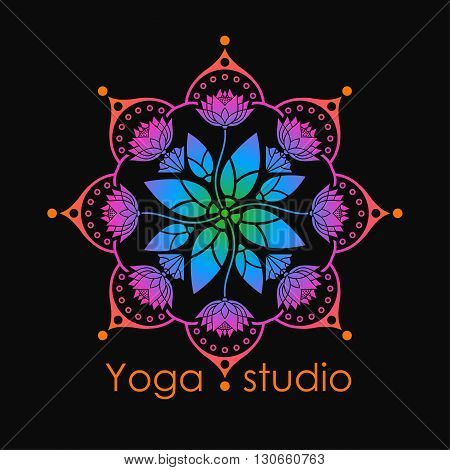 rainbow mandala pattern of lotus flowers for a yoga studio on a black background design