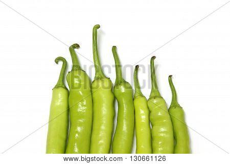 Green chilli pepper., green chili pepper on white background.