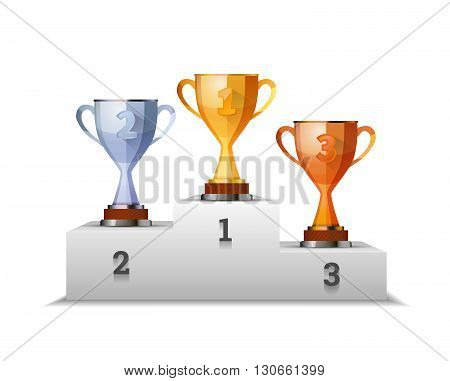 Cups of winners award on white podium isolated on white