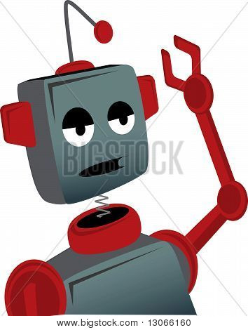 Bored Sad Cartoon Robot Waves
