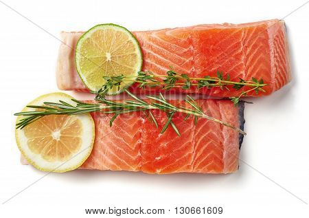 Fresh Raw Salmon Fillet With Lime, Lemon, Rosemary And Thyme