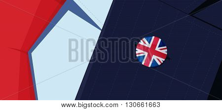 Great Britain flag lapel pin on man's suit jacket lapel. Transparency used. EPS10 file.