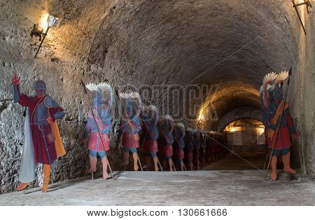 DUBNO UKRAINE - MAY 14:Cardboard figures of Polish winged knight in the castle dungeon at Dubno Ukraine on May 14 2016.