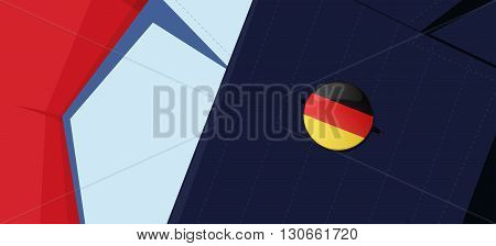 Germany flag lapel pin on man's suit jacket lapel. Transparency used. EPS10 file.
