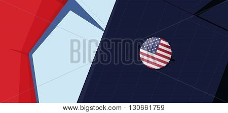 United States of America flag lapel pin on man's suit jacket lapel. Transparency used. EPS10 file.