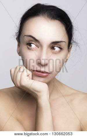 Portrait of young adult woman in spa salon