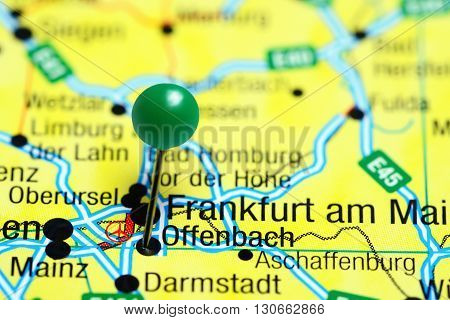 Offenbach pinned on a map of Germany