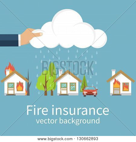 Fire insurance concept. Fire safety. Fire protection. Agent property insurance holds rain cloud above the house in case of fire. Template banner for advertising promotion. Fire insurance vector flat