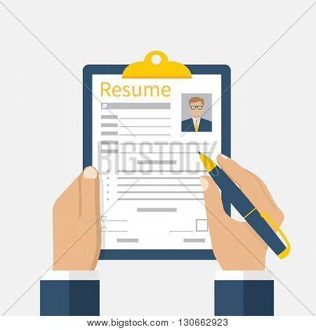 Resume form in the hands. Clipboard in hand with leaf resume. Man fills in questionnaire resume. Writing business resume. Concept of employment. Vector flat design. CV application. Resume job.