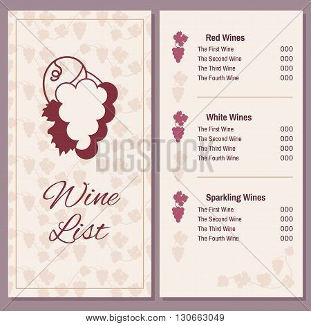 Wine list with a bunch of grapes - two pages of wine menu