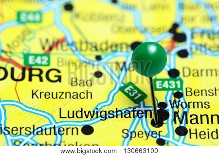 Ludwigshafen pinned on a map of Germany