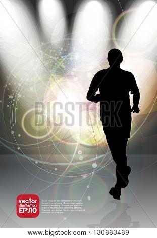 Sport background, marathon runner, vector