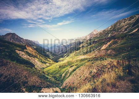Mountains idyllic Landscape in Abkhazia with blue sky and clouds Summer Travel serene scenic aerial view