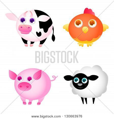 Set of isolated Farm Animals. Game Design. Vector illustration