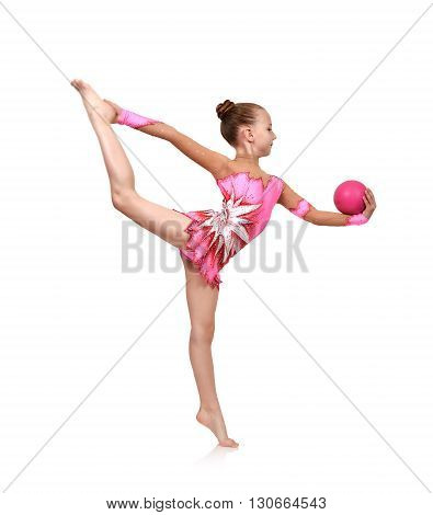 Little Girl Gymnast With Ball
