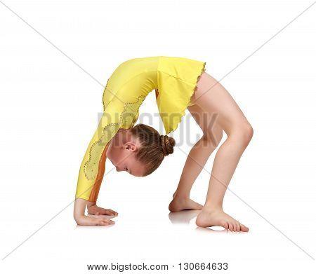 Girl Gymnast Making Bridge
