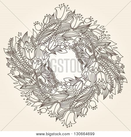 Vector Hairline Circular Floral Wreaths