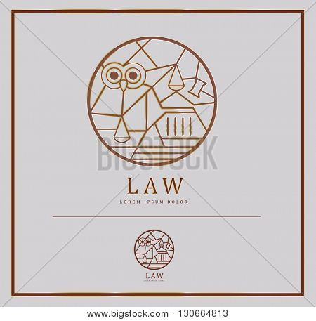 LUXURY EDITION : UNIQUE VECTOR LOGO / ICON DESIGN WITH LAW ELEMENTS AND SYMBOLISM IN A CIRCLE . COLORS : GOLD, BROWN, GREY