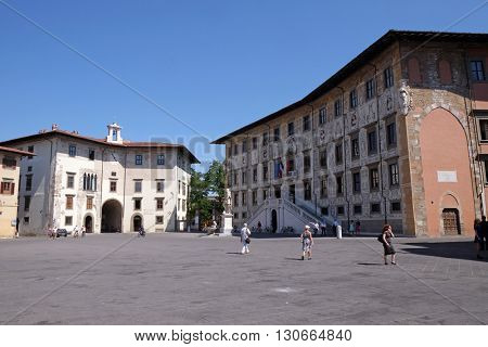 PISA, ITALY - JUNE 06, 2015: PISA, ITALY - JUNE 06, 2015: The Knights Square (Italian: Piazza dei Cavalieri) is a landmark in Pisa, Italy, on June 06, 2015