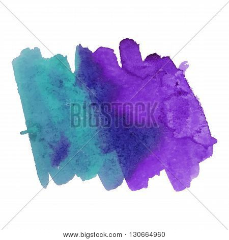 Watercolor brushstroke background green violet color. Grunge element for scrapbook, decoration and design cards and flyers. A model for the creation of digital brushes