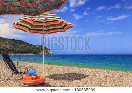 SUMMER.Gargano coast: Piana di Mattinata  beach .MATTINATA  (Apulia), - ITALY-