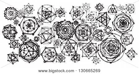 Sacred geometry mandalas background. Sacred symbols. Mandalas set. Black and white