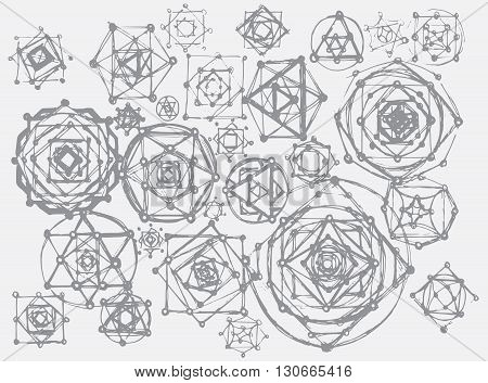 Sacred geometry symbols and elements background. Cosmic universe big bang alchemy religion philosophy astrology science physics chemistry and spirituality themes