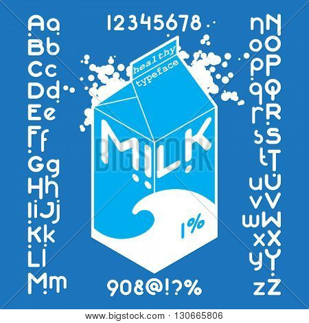 Round white milk pack font set. Custom Healthy typeface on blue background. Vector alphabet