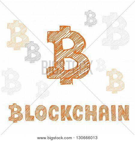 Hand Drawn Bitcoin Symbol And Letters Blockchain